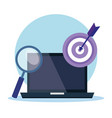 laptop with business marketing vector image vector image