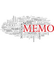 memo word cloud concept vector image vector image