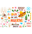 mexican day dead symbols big collection vector image