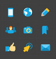 modern colorful flat social icons set vector image