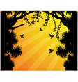 Nature Tree Silhouette With Bird Flying vector image