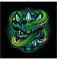 oni head mascot logo with green snake vector image vector image