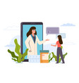 online doctor smartphone application with medical vector image