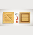 open empty wood box with nailed lid vector image