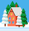 postcard with snowy building and fir-tree vector image