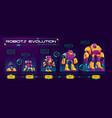 robots evolution time line cartoon banner vector image vector image