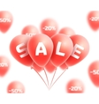 Sale background with red realistic balloons vector image vector image