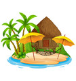 scene with hut on beach on white background vector image