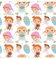 seamless background with toddler boys and girls vector image