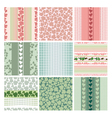 seamless patterns of the roses and leaves set vector image vector image
