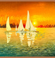 seascape with sailboats in art style vector image vector image