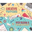 Set flat office creative process web design vector image vector image