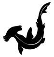 Silhouette of hammerhead shark vector image vector image