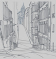 sketch of a city street of old european city vector image vector image