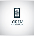 smartphone fingerprint icon for web and ui vector image