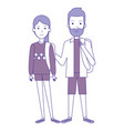 students couple avatars characters vector image