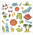 Summer vacation holiday doodle set vector image