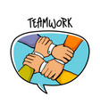 teamwork concept stack of business hands vector image vector image