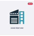 two color house front view icon from real estate vector image