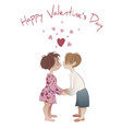 valentines day boy and girl kissing isolated on vector image vector image