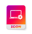 white laptop and gear icon on white background vector image vector image