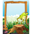 wooden frame with frog jumping background