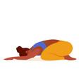 yoga cartoon girl stretching child vector image