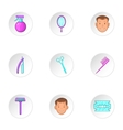 Barber icons set cartoon style vector image