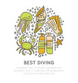 best diving hand draw icon concept diving vector image
