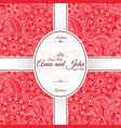 card with red indian paisley pattern vector image