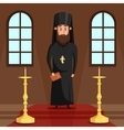Orthodox christian priest or bishop with beard vector image