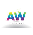 aw a w colorful letter origami triangles design vector image vector image