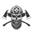 bearded and mustached fireman skull vector image vector image