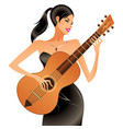 Beautiful woman playing acoustic guitar