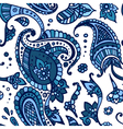 Blue colored paisley seamless pattern hand drawn vector image vector image