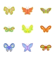 Butterfly insect icons set cartoon style vector image vector image