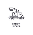 cherry picker line icon sign vector image vector image