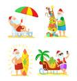 collection christmas beach holiday santa vector image vector image