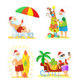 collection of christmas beach holiday santa vector image