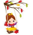 cute little girl swinging on swing vector image vector image