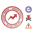 danger trends watermark with grungy surface vector image vector image