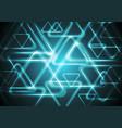 Dark cyan glowing triangles Tech geometric vector image vector image