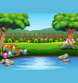 easter eggs on the beautiful park with nature back vector image