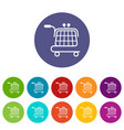 economy trolley icons set color vector image vector image