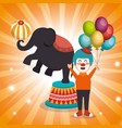elephant circus show icons vector image