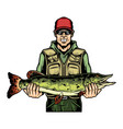 fishing colorful vintage concept vector image