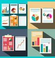 flat business paper data report background graphs vector image vector image