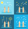 Flat design 4 styles of tower bridge UK vector image vector image