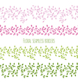 floral seamless borders with branches and leaves