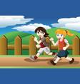 girls running outdoor vector image vector image